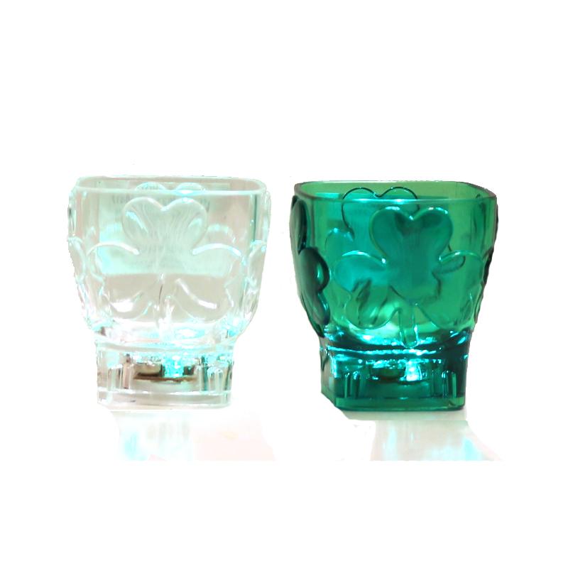 Light Up Multi Function Plastic Shamrock Shot Glass