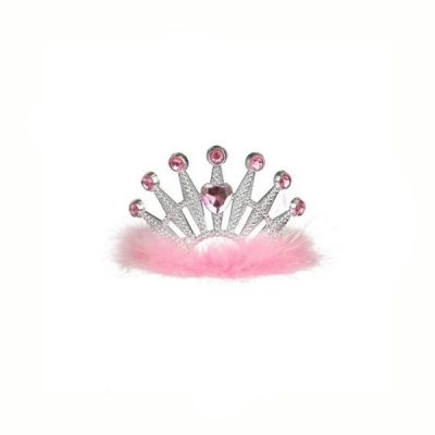 Plated Plastic Heart Tiara with Marabou and Stones