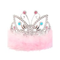 Plated Plastic Butterfly Tiara with Marabou and Stones