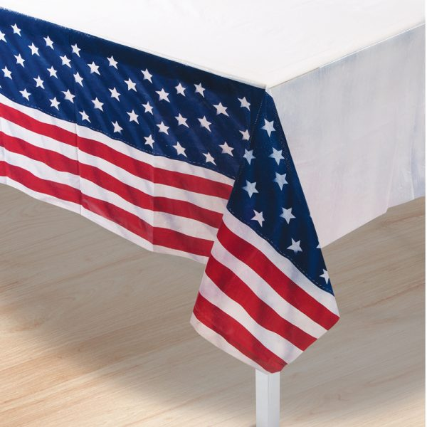 Plastic Patriotic Flag Pattern Table Cover