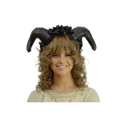 Costume Floral Headband w Rams Horns