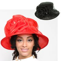 Organza Fabric Hats w Rose