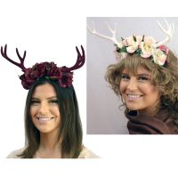 Costume Floral Headband w Antlers