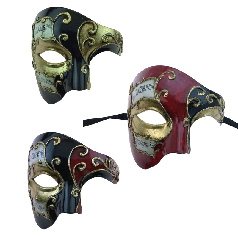 Costume Venetian Phantom Mask w Musical Notes