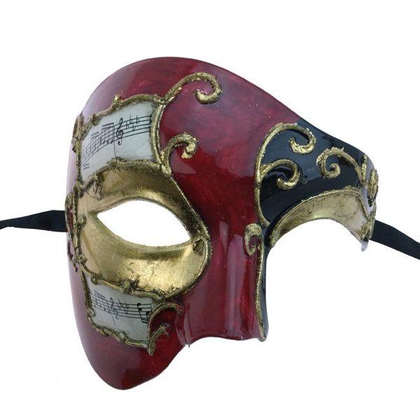 Red Costume Venetian Phantom Mask w Musical Notes