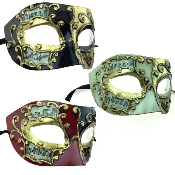Costume Venetian Half Masks w Musical Notes