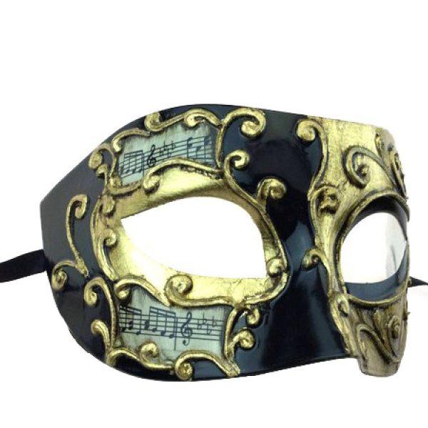 Black/Gold Costume Venetian Half Mask w Musical Notes
