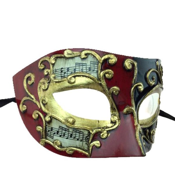 Red Costume Venetian Half Mask w Musical Notes