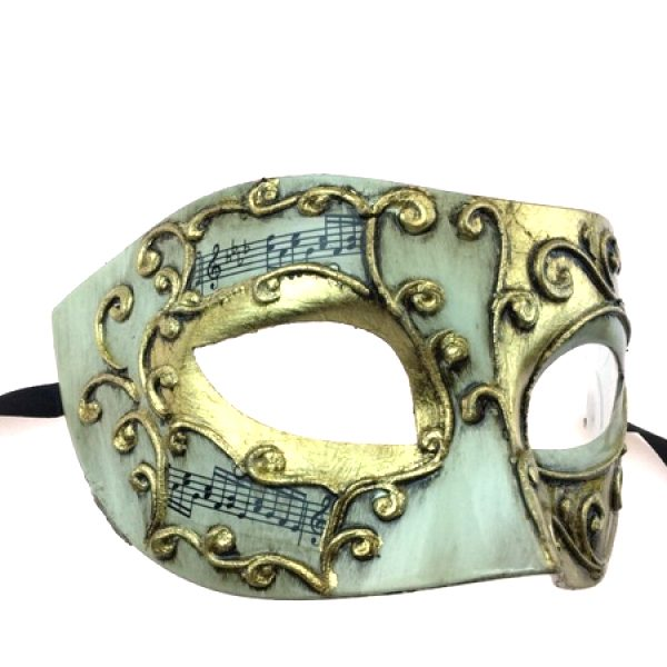 White/Gold Costume Venetian Half Masks w Musical Notes