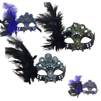 Costume Venetian Half Mask w Jewels Feathers