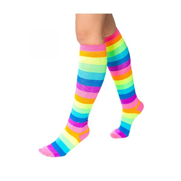 Costume Fluorescent Rainbow Acrylic Knee High Socks