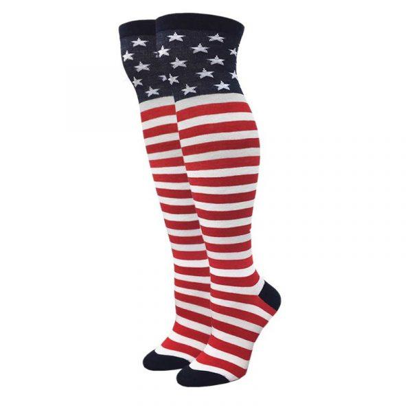 Patriotic Acrylic Knee High Socks w Stars Stripes