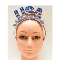 Glittered USA Tiara w Tinsel Fringe