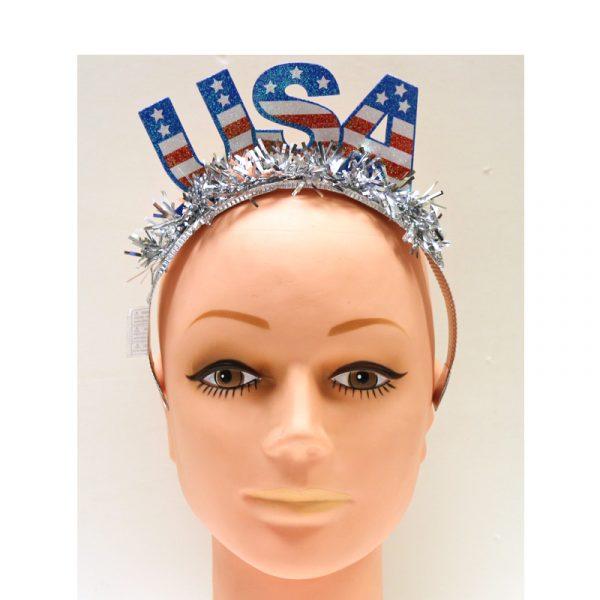 Glittered USA Tiara w Tinsel Fringe