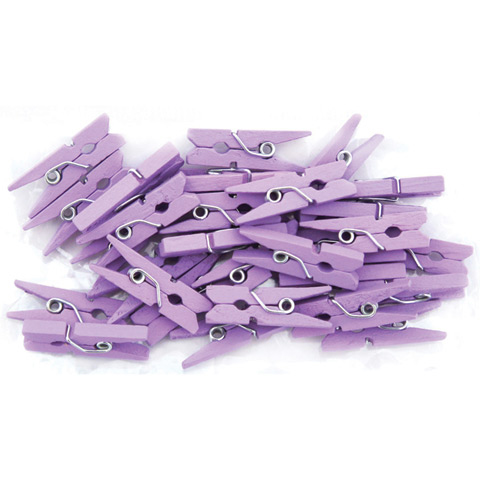 Lavender 1 Inch Solid Color Craft Mini Clothespins