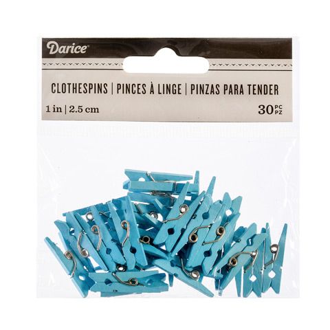 Light Blue 1 Inch Solid Color Craft Mini Clothespins