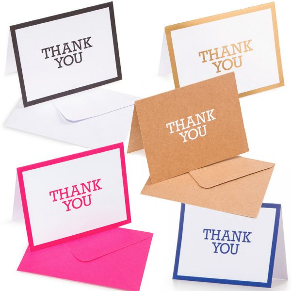 10 Thank You Cards with 10 Envelopes
