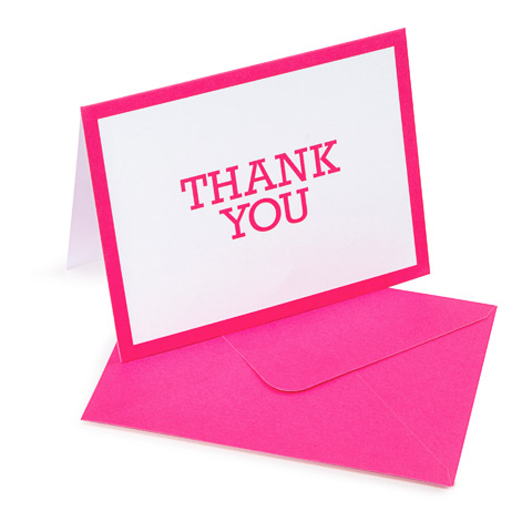 10 Thank You Cards with 10 Envelopes - fuchsia