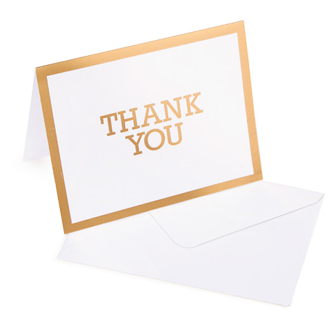 10 Thank You Cards with 10 Envelopes - gold