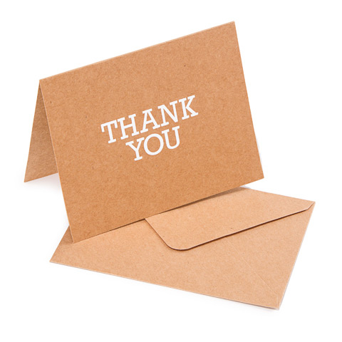 10 Thank You Cards with 10 Envelopes - kraft