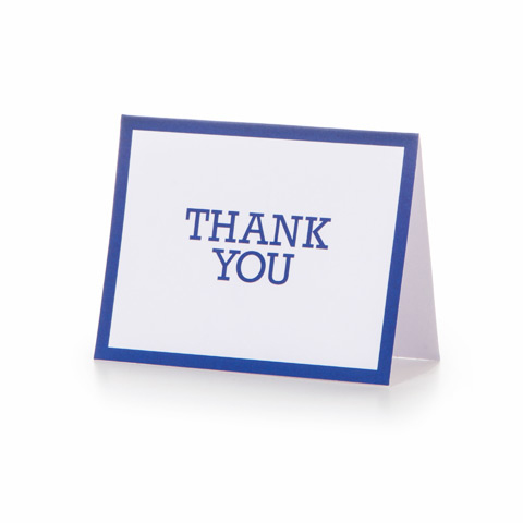 10 Thank You Cards with 10 Envelopes - Navy