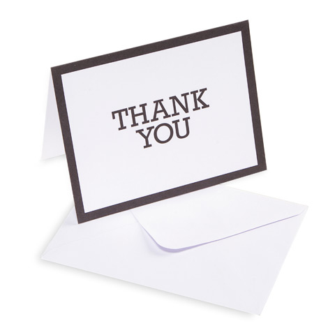 10 Thank You Cards with 10 Envelopes - Black