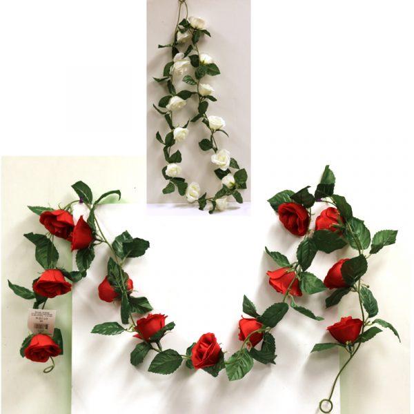 6 Foot Long Silk Open Rose Garland