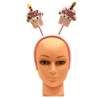 Pink Happy Birthday Cupcake Head Bopper Headband