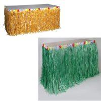 Imitation Raffia Table Skirt w Flower Trim Natural or Green