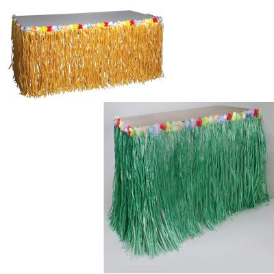 Imitation Raffia Table Skirt w Flower Trim Natural or Green