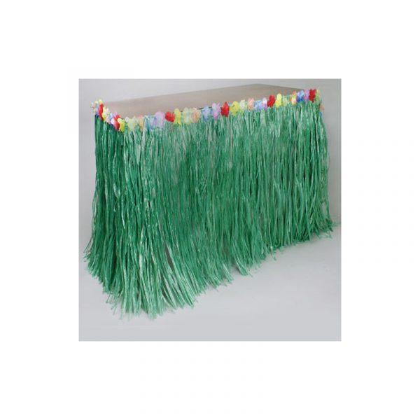 Imitation Raffia Table Skirt w Flower Trim Green