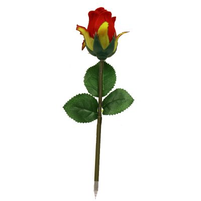 Novelty Red Rose Bud Green Stem Pen Blue Ink