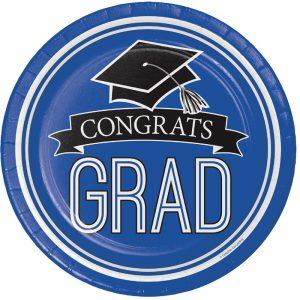 Graduation Paper Plates and Napkins - Blue