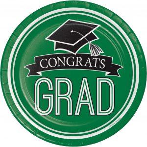 Graduation Paper Plates and Napkins - Green