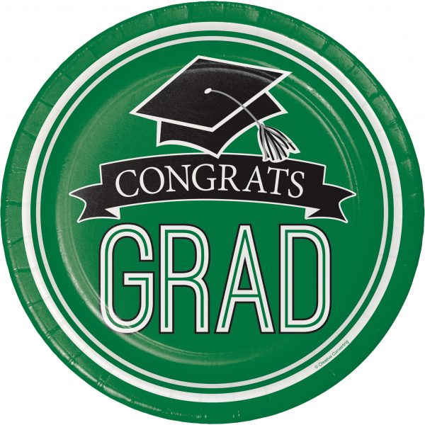 Graduation Paper Plates and Napkins - Green
