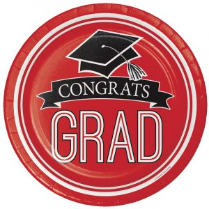 Graduation Paper Plates and Napkins - Red