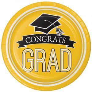 Graduation Paper Plates and Napkins - Yellow