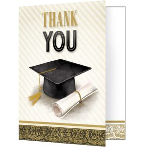 Graduation Thank You Notes Ivory/Black/Gold