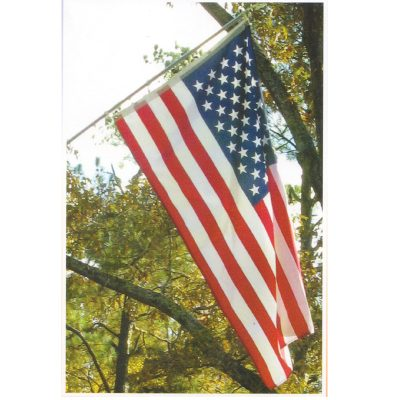 3X5 Ft Polycotton US American Flag Includes Metal Flagpole Kit
