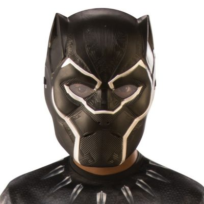 Plastic Childs Black Panther Super Hero Face Mask