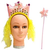 Costume Crown Headband with Hair and Wand Set