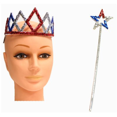 Patriotic Glittered Plastic Tiara & Star Wand Set