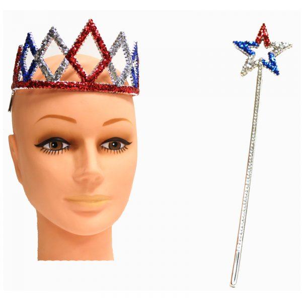 Patriotic Glittered Plastic Tiara & Star Wand Set