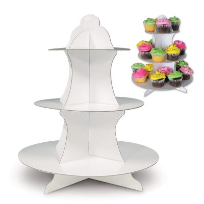 White Cupcake Stand - 3 tier