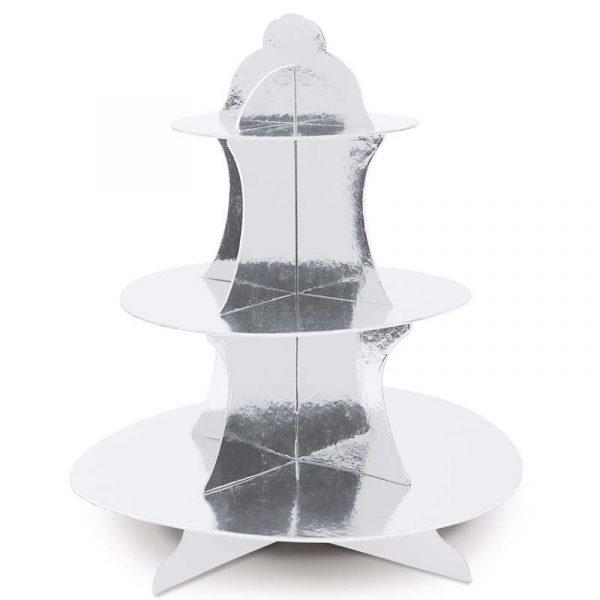 Metallic Silver Cupcake Stand
