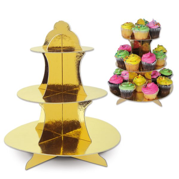 Metallic Gold Cupcake Stand - 3 tier