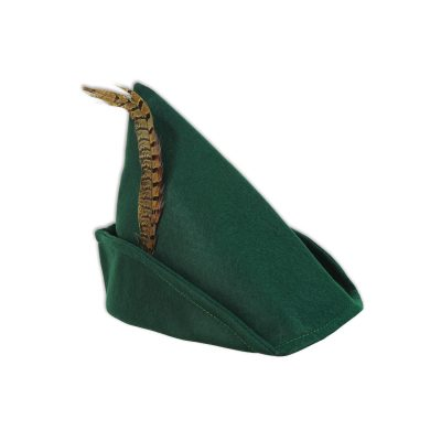 Green Felt Robin Hood Hat w Pheasant Feather
