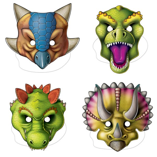 Dinosaur Mask - 4-Piece Cardboard Assortment