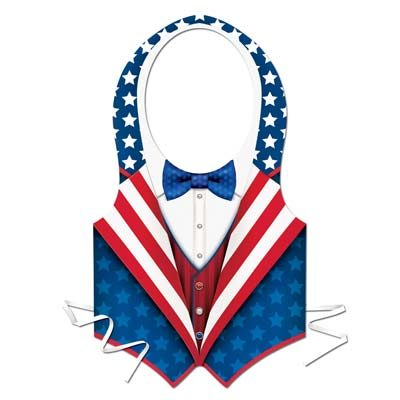 Plastic Patriotic Vest Red White Blue