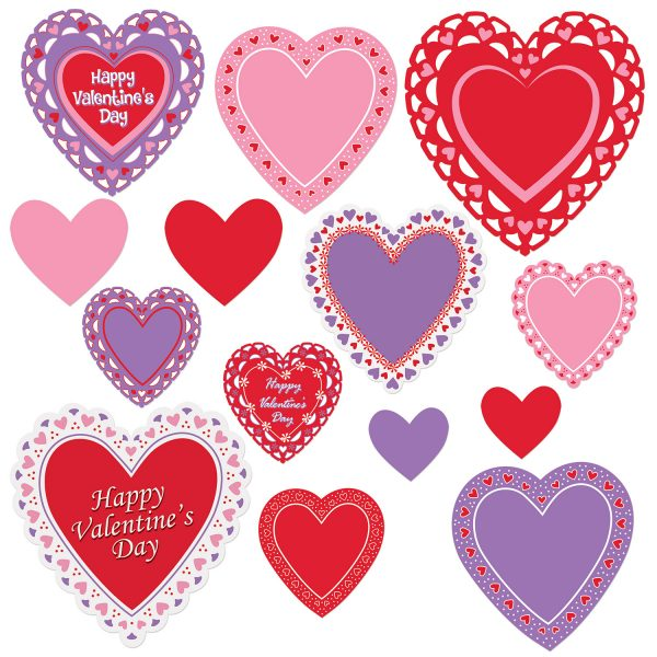 Valentines Day Cutouts - Assorted Sizes 14 Hearts